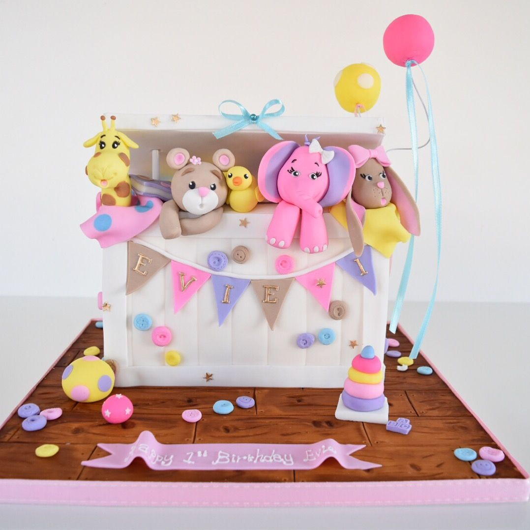 Swell Girls First Birthday Toy Box Cake Birthday Toys Girl First Funny Birthday Cards Online Inifodamsfinfo