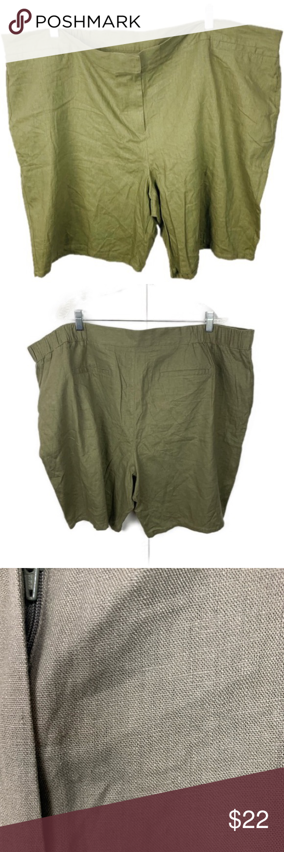 8e57763c4d6 Jaclyn Smith Shorts Green Linen Blend Plus Size 3X Jaclyn Smith Womens  Shorts Green Linen Blend