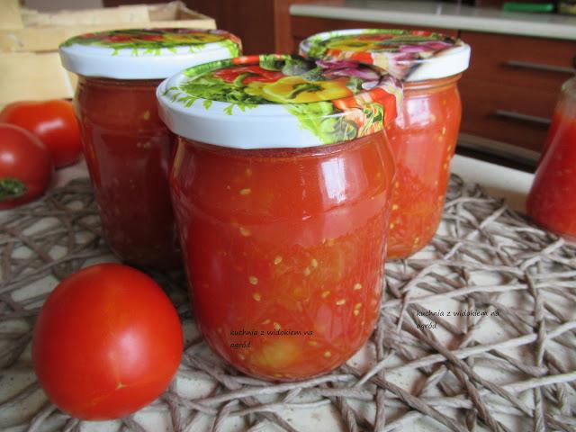 Kuchnia Z Widokiem Na Ogrod Pomidory Krojone Na Zime Domowe Przetwory Food Salsa Jar