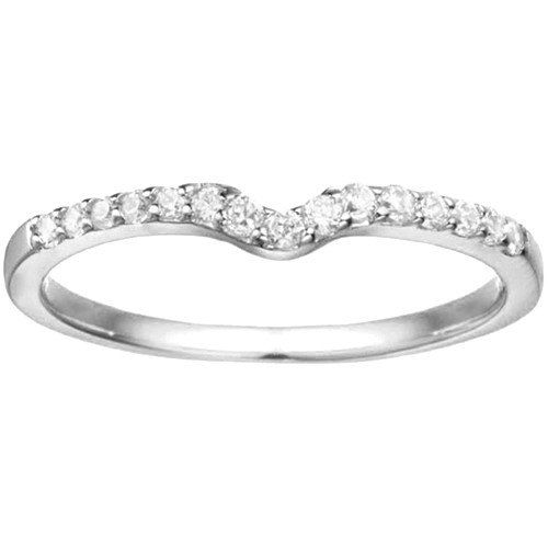 10 Karat White Gold Notched Contour Solitaire Enhancer Wedding Band Set With Cubic Zirconia On Etsy 139 00