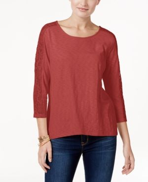 Style & Co Lace-Trim Crisscross-Back Top, Only at Macy's - Red XXL