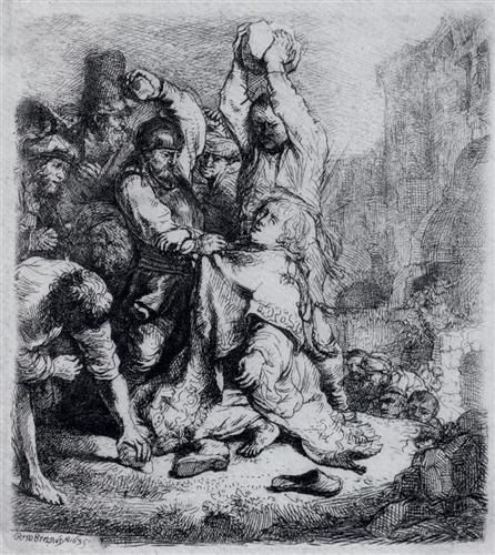 The Stoning Of St. Stephen - Rembrandt  - Completion Date: 1635