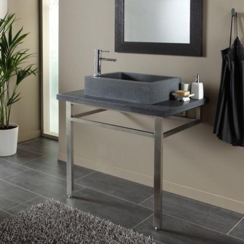 PlaneteBain Ensemble plan + vasque pierre naturelle gris ardoisé - meuble salle de bain pierre naturelle