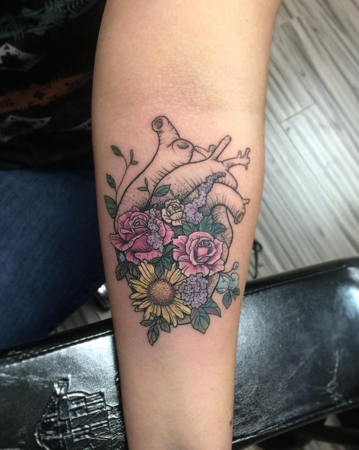 Beautiful Botanical Tattoos By Salem Witch Descendant: Beautiful Botanical Heart By Tofer Omen #tattoodotcom