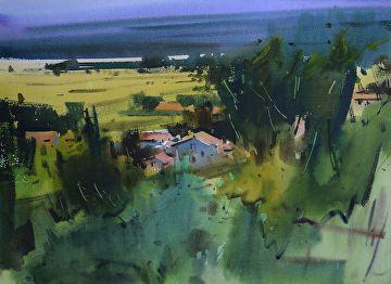 Village Francais II by Eugen Chisnicean Watercolor ~ 55cm x 75cm ...
