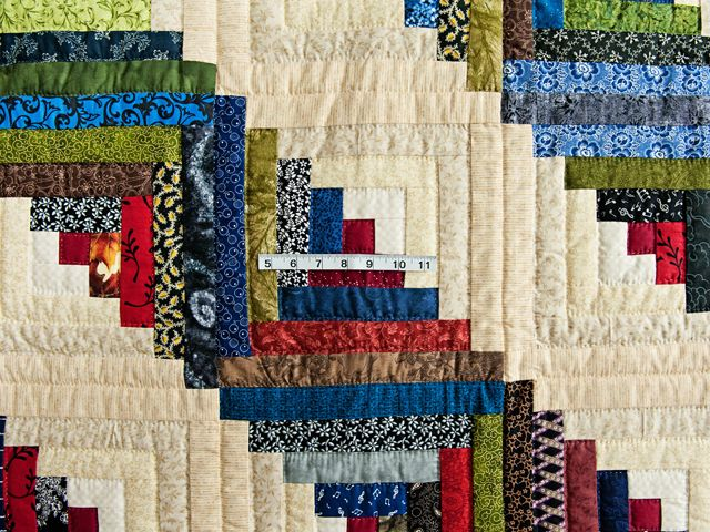 Merveilleux Multicolor Traditional Log Cabin Quilt Photo 4