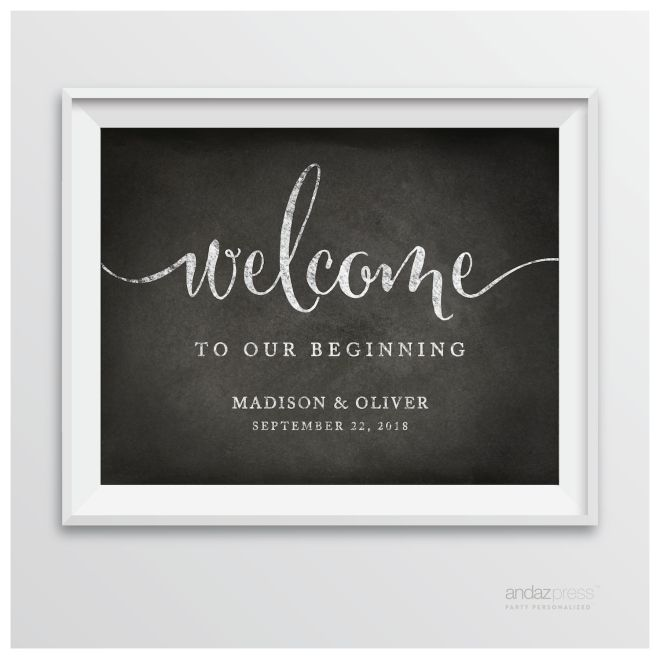 AP10344 Andaz Press Personalized Wedding Party Signs, Vintage Chalkboard Print, 8.5-inch x 11-inch, Welcome to our Beginning