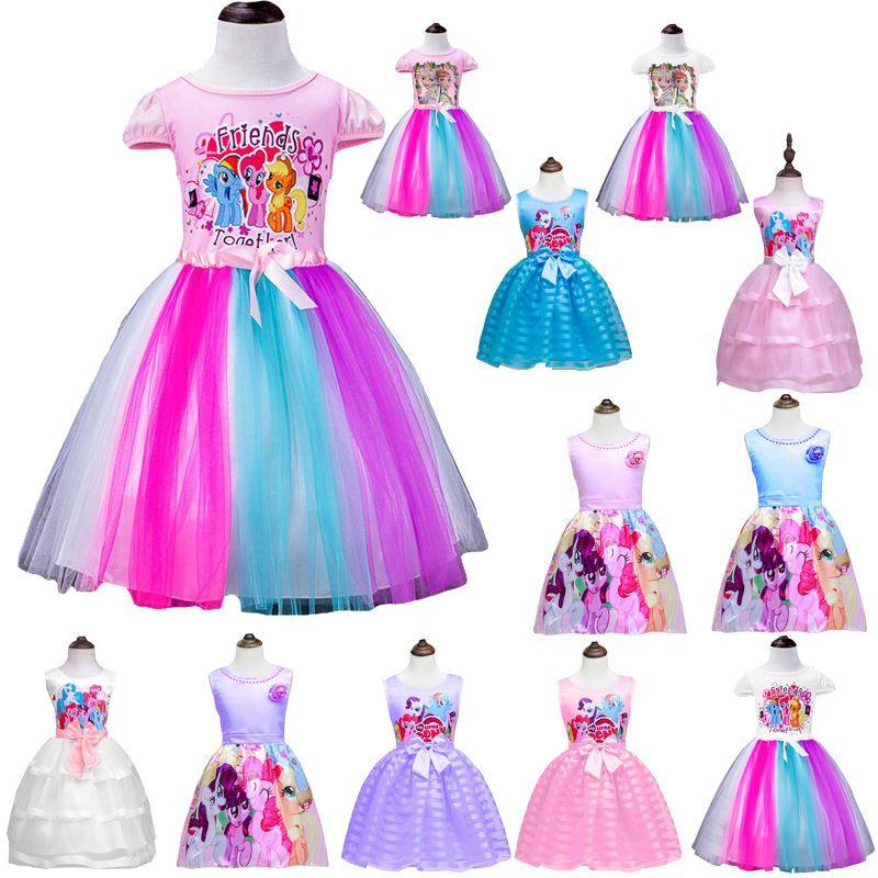 e77bbf42c My Little Pony Girls Princess Dress Anime Summer Party Clothing Kids ...