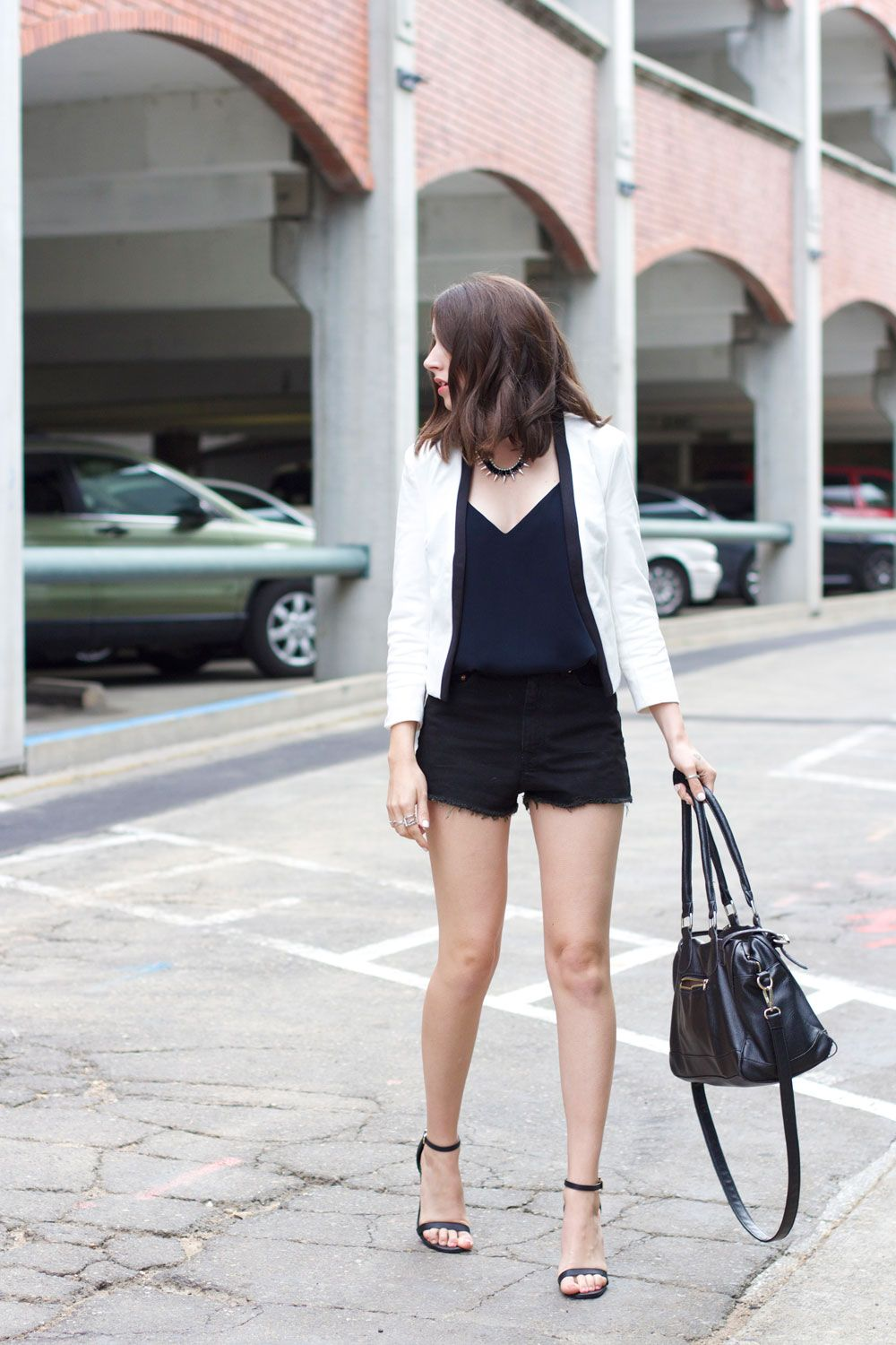 Summer date night outfit: white blazer, black shorts, strappy ...