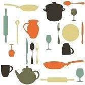 ollas de cocina : cocina colorido patrón