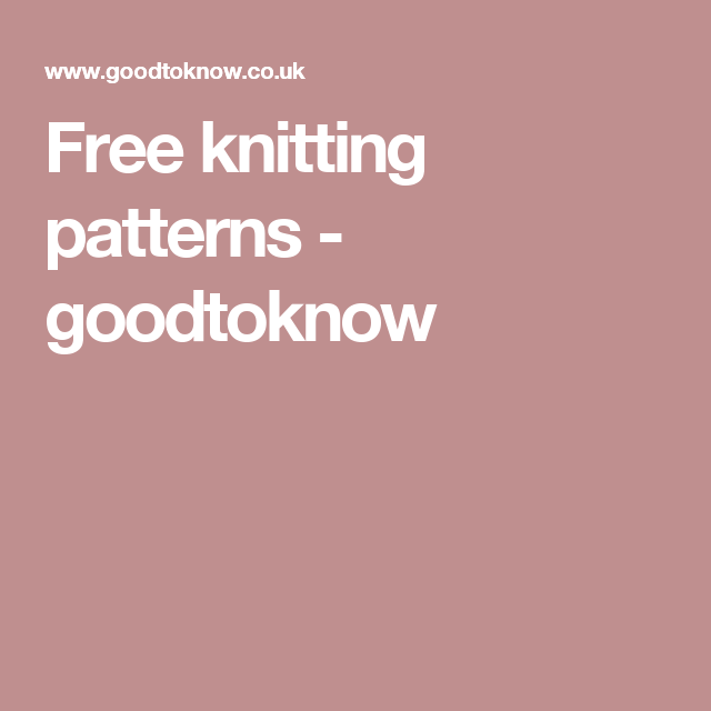Free knitting patterns UK - Free knitting patterns