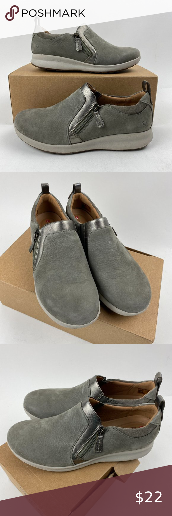 Clarks Unstructured Un Adorn Side Zip Shoe A342850 In 2020 Slip On Shoes Clarks Shoes