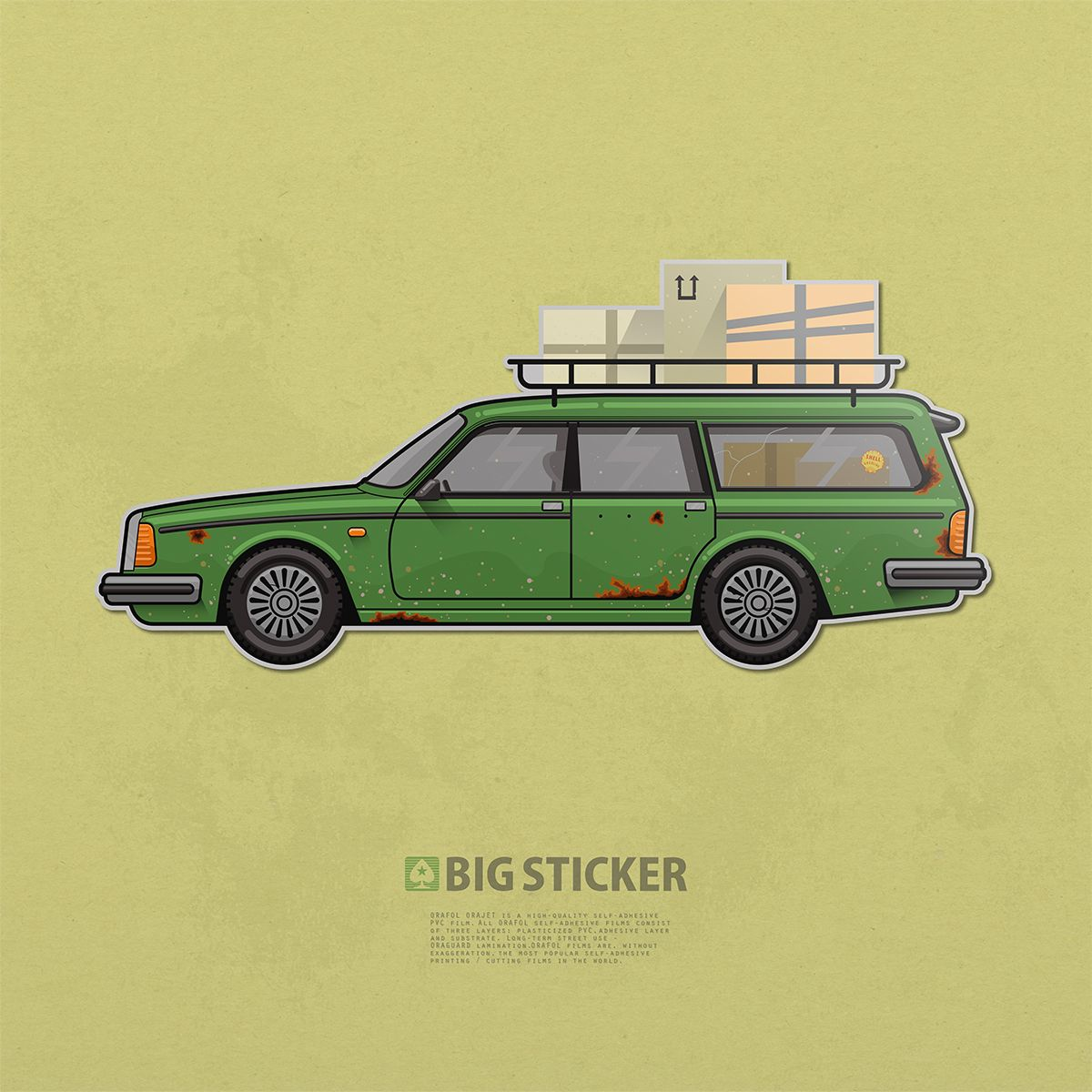 Old Car Vintage Volvo Old Moose Big Sticker Classic Car Simple Design Style Brand Stickers Stickers Sticky Labels [ 1200 x 1200 Pixel ]