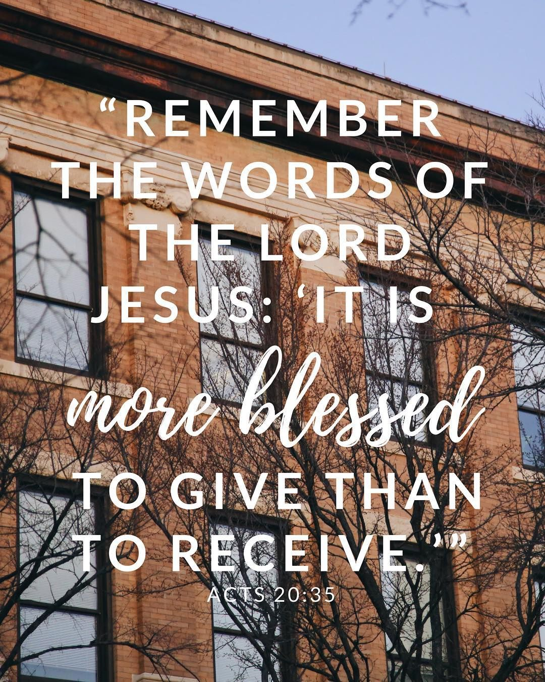 """""""It is more blessed to give than to receive"""""""
