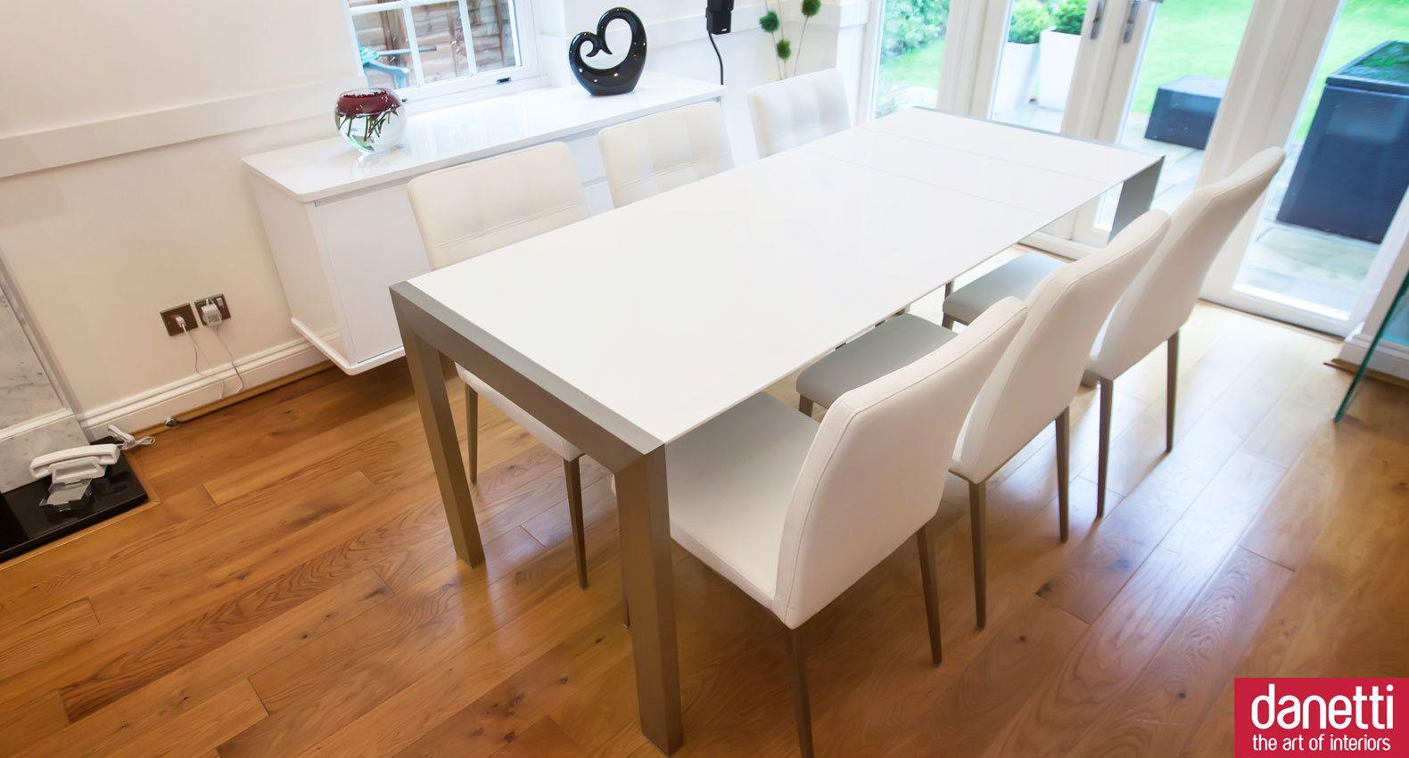 Matt White Extending Dining Table Brushed Metal Legs Seats 8