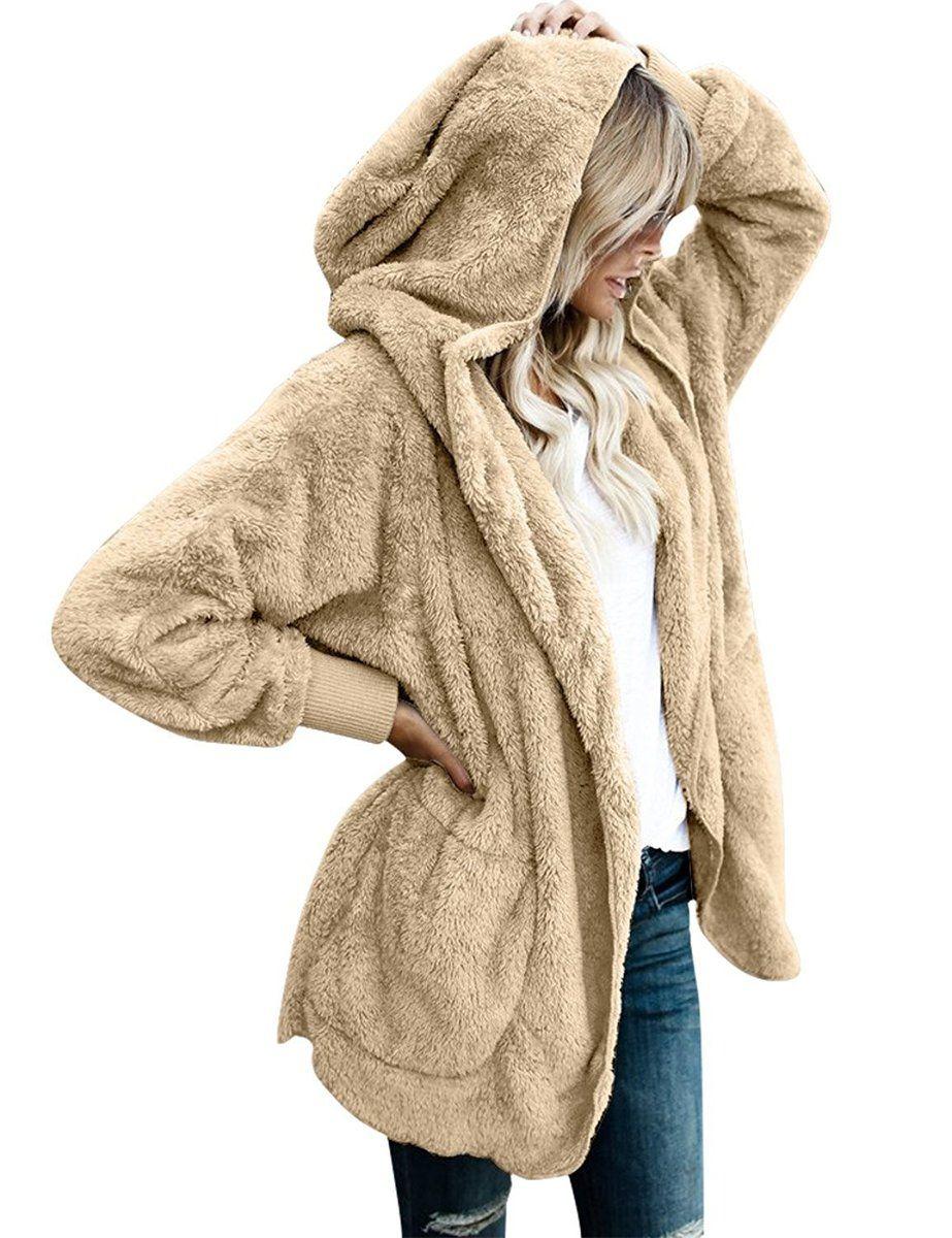 f7af141e41 Women s Oversized Open Front Hooded Draped Pockets Cardigan Coat ...