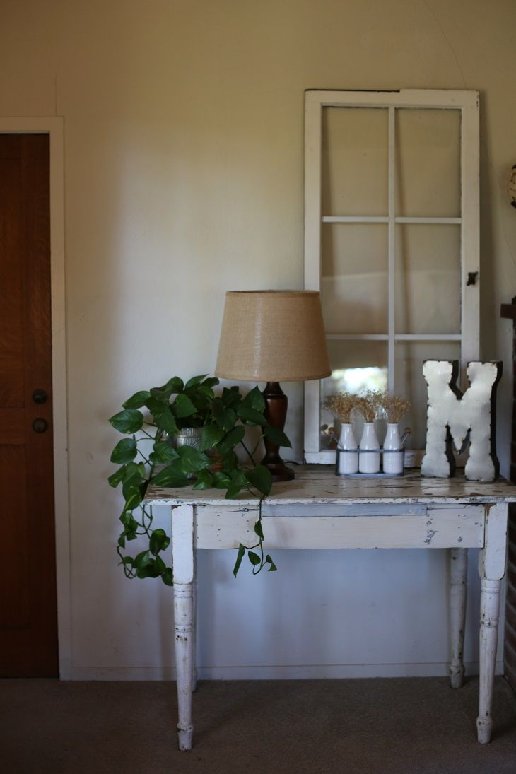 Rustic Farmhouse Entry Table. Old Window used as Table and Wall ...