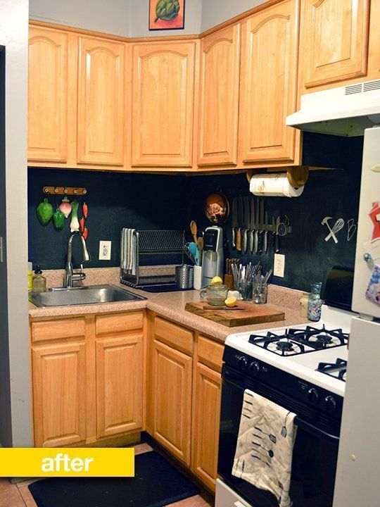 Chalkboard Paint Backsplash backsplash before & after: a drab rental kitchen gets a little