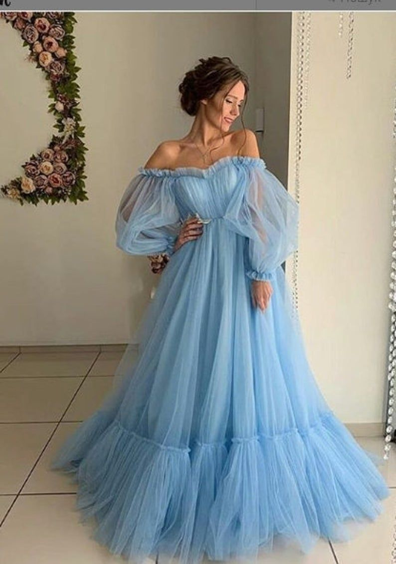 Blue Wedding Dress with Sleeves Tulle Blue Wedding