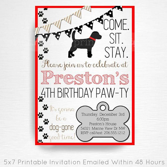 Black Red Brown Lab Dog Birthday Party Printable Invitation YOU Print Digital Invite  This is an emailed file, nothing will be shipped to you. Please include your childs name, age and party details in the notes to seller section at checkout.  We will email your high-resolution,
