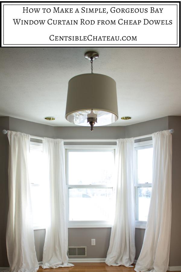 Inspiring Idea For Bow Window Curtain Rods Elegant Interior