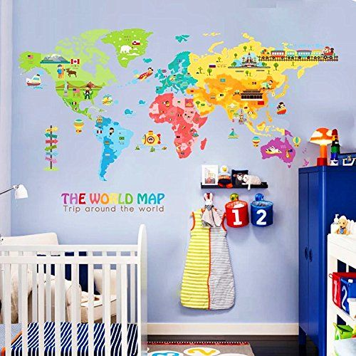 Iceydecal superlarge the world map wall decalkids educational iceydecal superlarge the world map wall decalkids educational animalnational flag vehiclefamous building peel stick cartoon stickers gumiabroncs Image collections