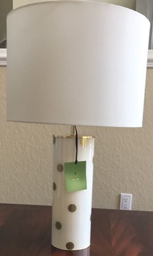 Nwt Kate Spade Off White With Gold Polka Dots Cylinder Table Lamp