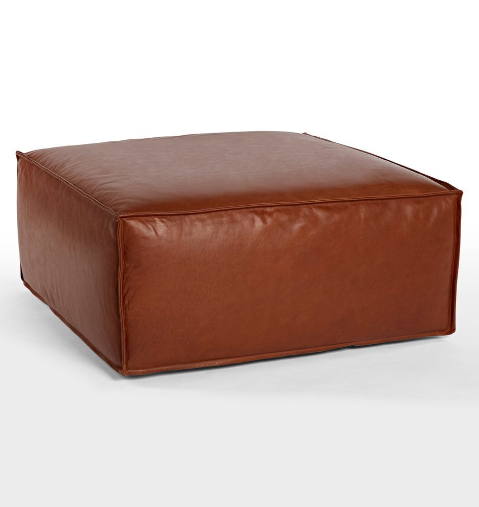 Rejuventation Leather Ottoman In Cognac Upholster Leather