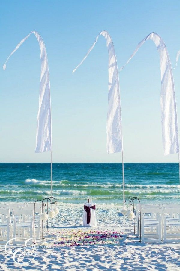 Purple Beach Wedding With Bali Flags With Images Beach Wedding Purple Beautiful Beach Wedding Beach Wedding Packages