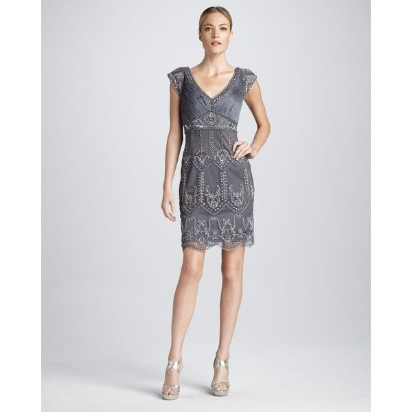 Sue Wong Cap-Sleeve Beaded Cocktail Dress ($490) ❤ liked on Polyvore