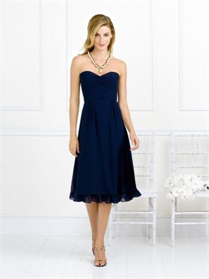 A-line Strapless Sweetheart Neckline Tea Length Chiffon Bridesmaid ...