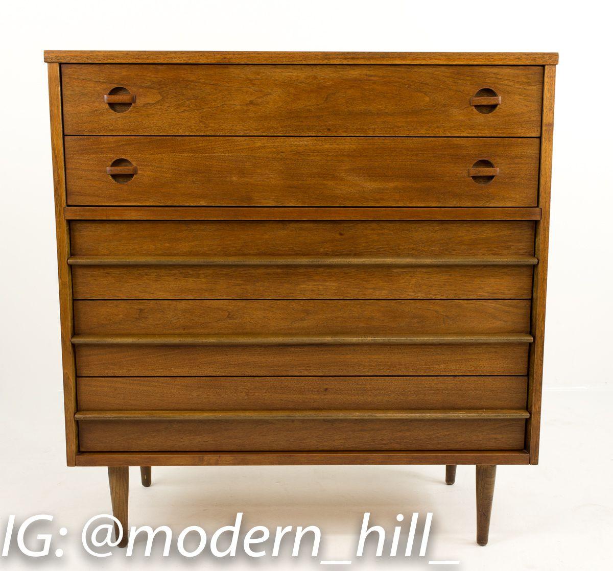 Best Bassett Walnut Mid Century Modern Highboy Dresser Modern 640 x 480