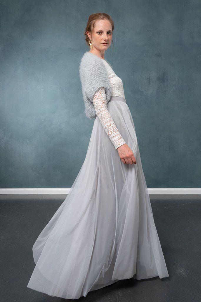 Kurze Brautjacke, Strickbolero für die Braut, Grau - Hold