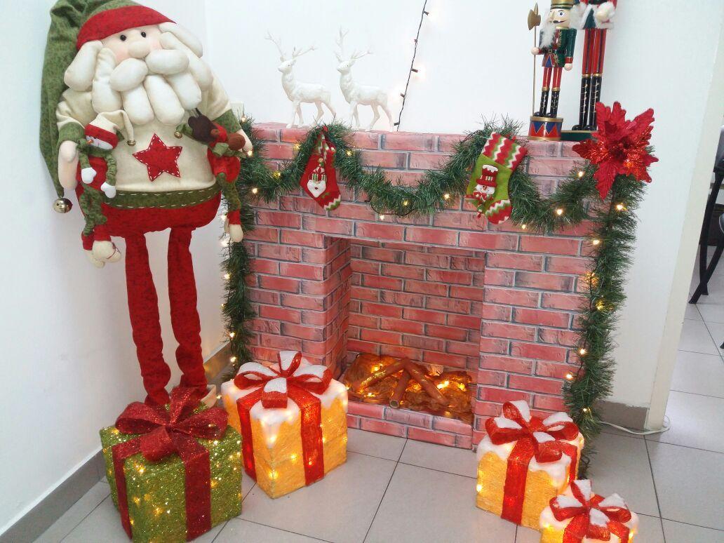 Chimenea navidad 2016 hecha con cajas de cart n - Cajas de carton de navidad ...