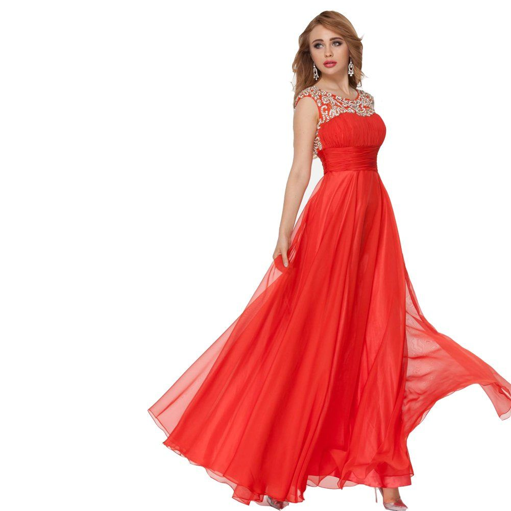 Lemai red long beaded crystals women formal corset chiffon prom