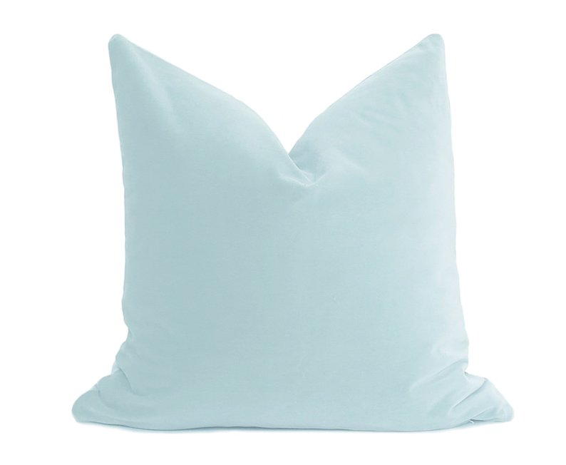 Sea Glass Blue Velvet Pillow Cover Belgium Velvet Light