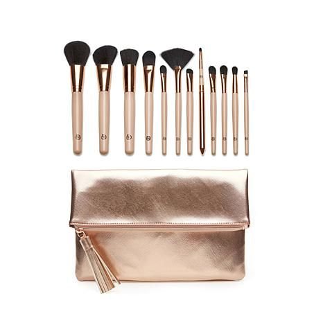 luke henderson 12piece brush set with rose gold clutch