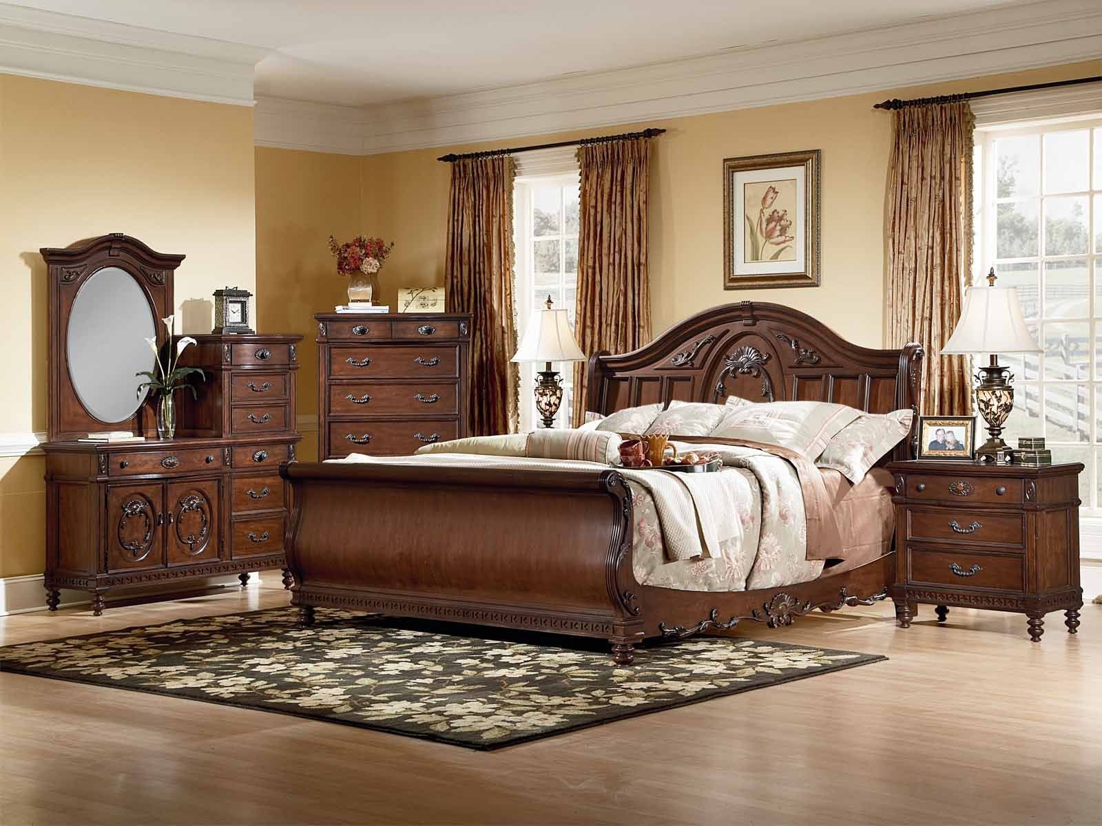 Pc Classic Brown Cherry Wood Belcourt Cherry Pc King Sleigh Bed