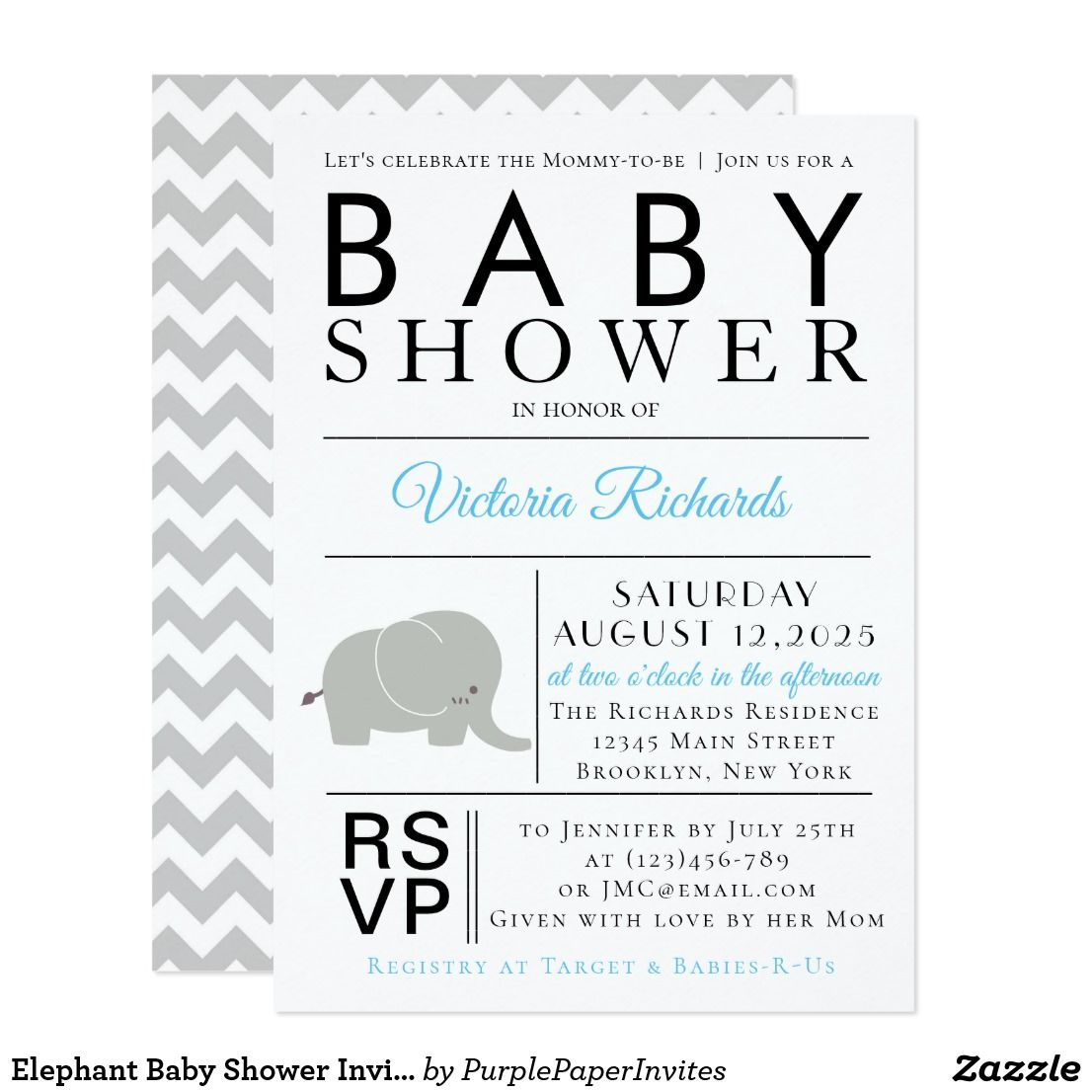 Elephant Baby Shower Invitations Chevron | Elephant baby showers ...