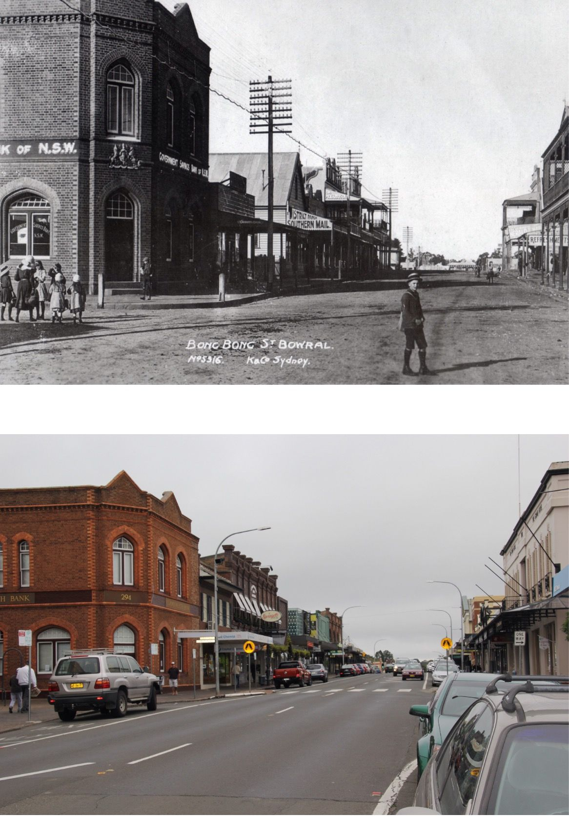 Main commercial street in Bowral, Southern Highlands NSW AUSTRALIA. Top image c.1900, bottom image 2015.