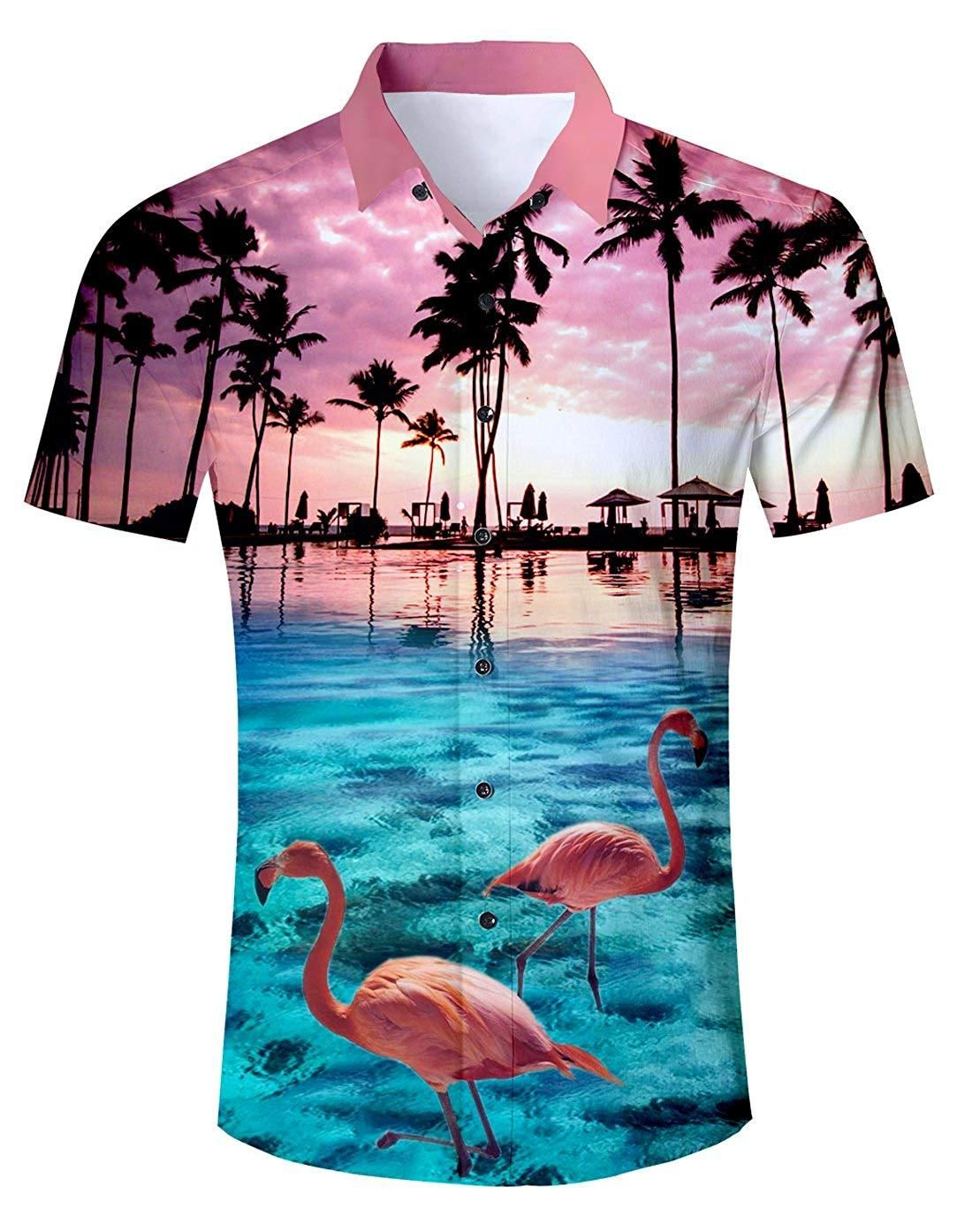 90323fb7b Uideazone Men Summer Button Down 3D Printed Aloha Shirt Casual Short Sleeve  Tropical Beach Hawaiian Shirts