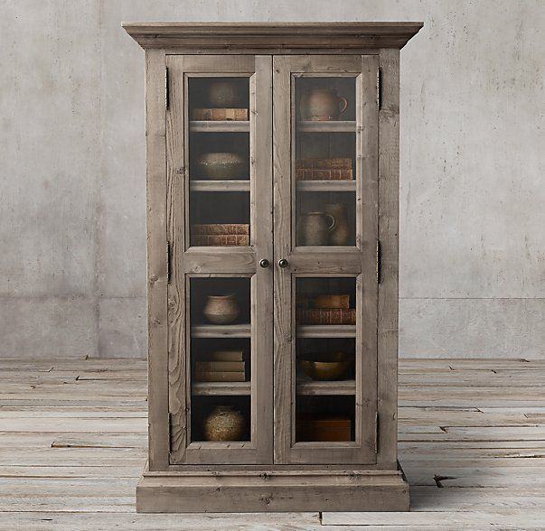 Salvaged Wood Glass Double Door Cabinet Dining Room Sideboards