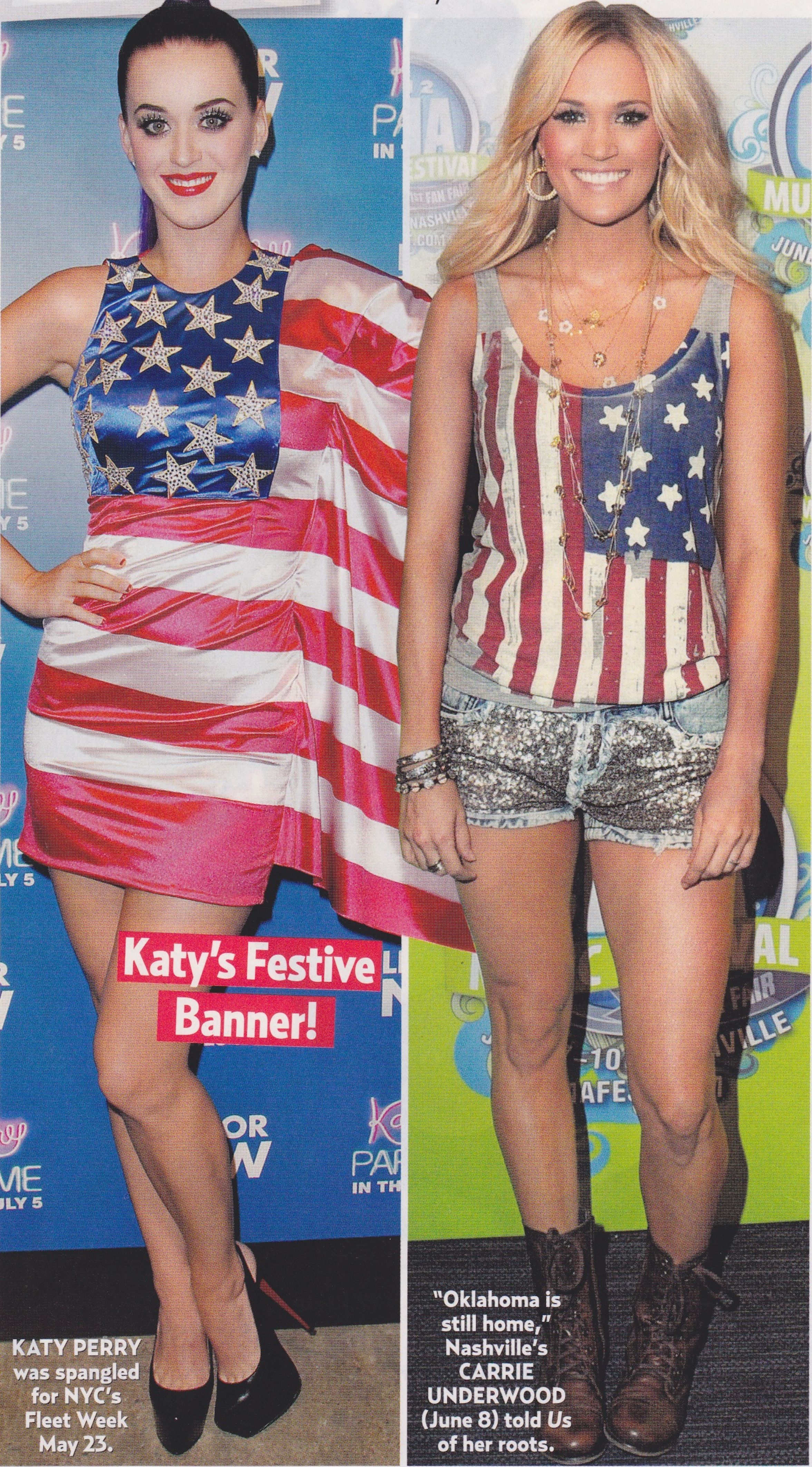 Katy Perry And Carrie Underwood Rocking American Fashions Love The Dress But The Shirt Has The Stars On The Wrong Side The My Style Katy Perry Fashionista