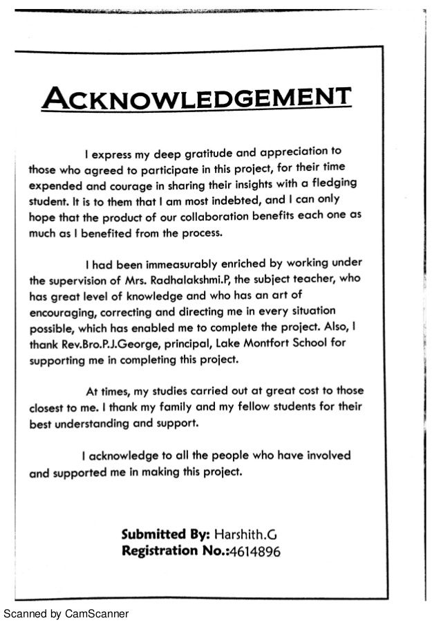 Accountancy Clas 12 Project School Study Tip Acknowledgement For Research Paper Examples