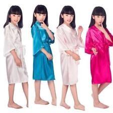 Hot Children peacock gown satin kimono bathrobes flower girl bride/'s silk robe