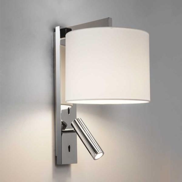 Polished Chrome Wall Light With Led Reading Arm Luke E2lighting Co Uk Bedside Wall Lights Wall Lights Sconces