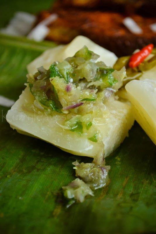 7b7f370259 Kappa Puzhingiyathu with Mulaku Chammanthi (Boiled Tapioca with Green Chili  Dip)
