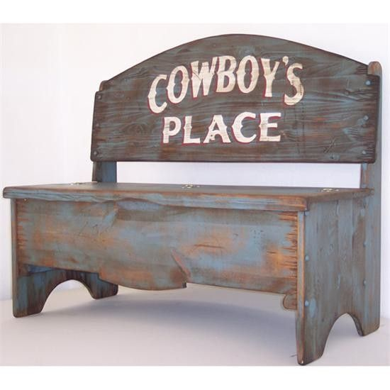 Cowboy S Place Storage Bench Western Home Decor Western Furniture Bench Furniture