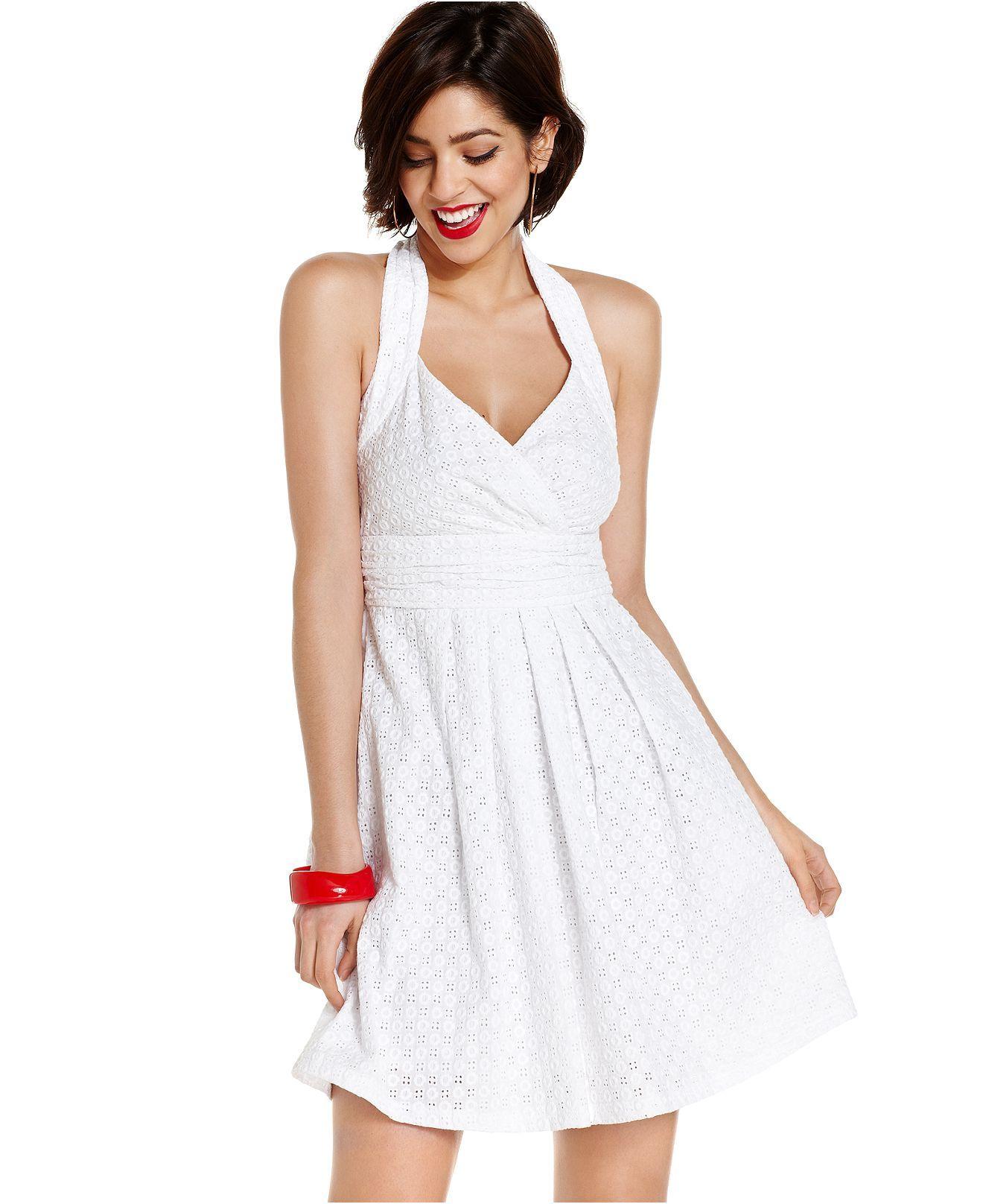 Marilyn Monroe Juniors Dress, Halter Eyelet-Lace A-Line - Juniors Dresses - Macys