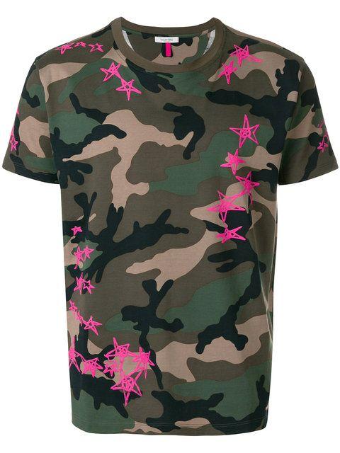 fcc6b1c0 Valentino Camouflage Star Print T-shirt in 2019   Men fashion   Valentino  camouflage, Star print, Camo print